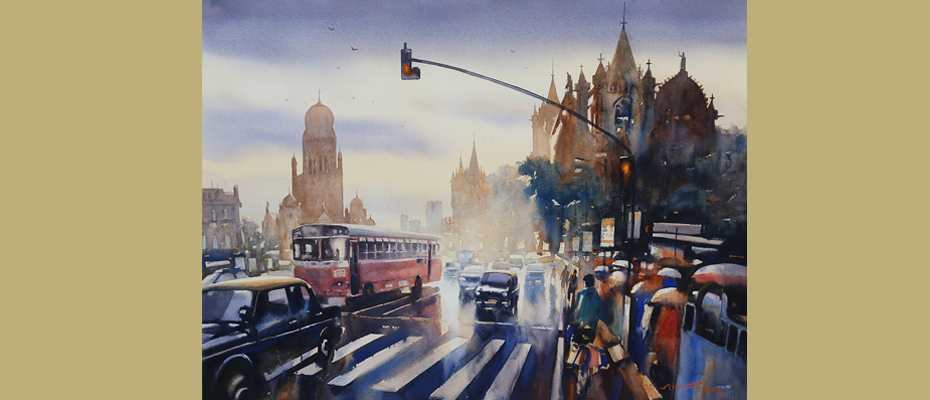 "Wet Mumbai CST  30"" x 40""  Water colour on paper"
