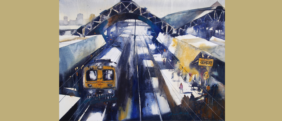 "Bandra Station, Mumbai  39"" x 30"" Water colour on paper"