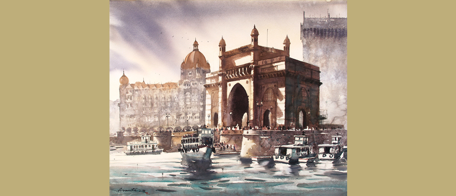 "Gate Way of India - II  30"" x 36""  Water colour on paper"