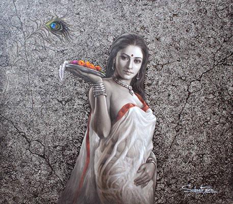 Pujarin, 42 x 48, olio su tela da Subrata Sen
