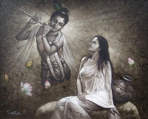 Radha Krishna, 48 x 60, olio su tela da Subrata Sen
