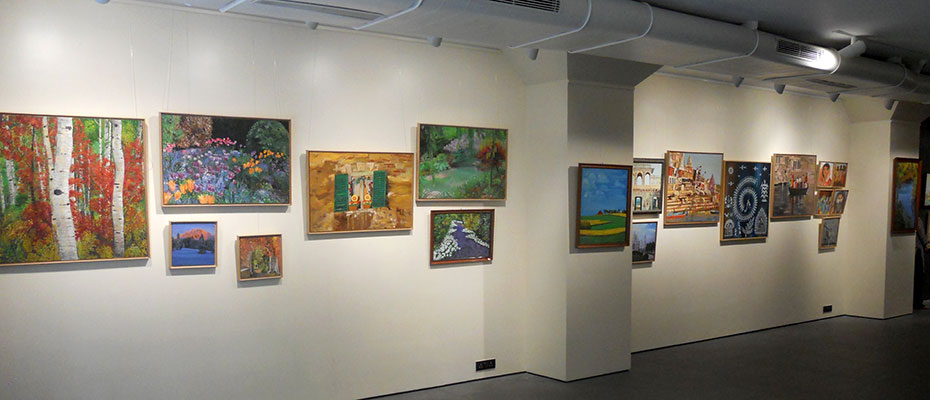 Art works from Jigna Chaturvedi&apos;s exhibition <i>Magical Landscapes and India Reflections</i> on display